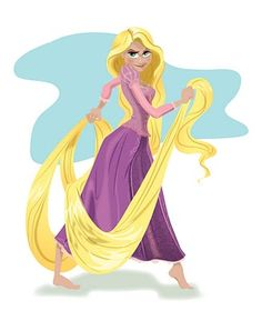 My illustration of Penny's favorite princess, Rapunzel!  She is so fierce.