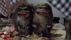 Concept art and finished design of the titular creatures from the 1986 movie, Critters. Though it was obviously a Gremlins ripoff, the movie was really entertaining still. I remember the bounty hunters; one looked like Pat Sharp. His hair was a sight to behold: the top and bottom went on long after his face had ended, I couldn't stop looking at it. I don't even remember the other bounty hunter.
