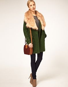 Enlarge ASOS Coat With Oversized Faux Fur Collar