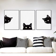 Minimalist Kawaii Black Cats Head Canvas Set - This 3 piece modern art set of a curious black cat peaking from the white canvas background is both - Art Mignon, Canvas Background, Cute Black Cats, Black Cat Art, Wall Decor, Room Decor, Cat Room, Cat Wall, Wall Art Pictures