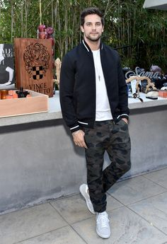 Brant Daugherty in Vince Camuto FW16 Geo Bomber Jacket