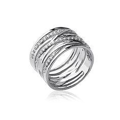 Grosse bague tube argent massif faux anneaux croisés incrustés de zirconium