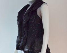 Nuno Felt Circle Vest in Black Merino on Burn Out Silk Chiffon -    Edit Listing  - Etsy