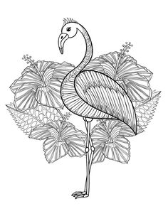 cute flamingo coloring page for adults to print at home                                                                                                                                                      Más