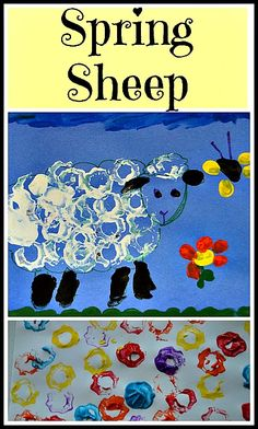 Fun Printing activity for younger kids. Create a sheep in a spring scene. #easter #spring #springactivities