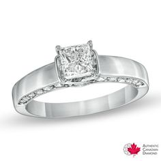 1-1/4 CT. T.W. Princess-Cut Certified Canadian Diamond Engagement Ring in 14K White Gold (H-I/I1) - Zales