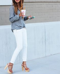 White denim + chambray + wooden platforms. Love the look but not the Jamba Juice.