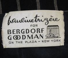 Pauline Trigere for Bergdorf Goodman Label by wearitsatvintage, via Flickr