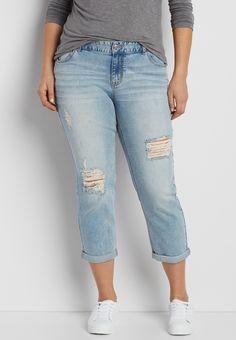 6f47454a397 plus size boyfriend crop jeans in light wash with destruction (original  price