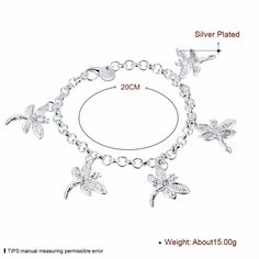 Aliexpress.com : Buy 2016 Luxury silver plated filled Rhinestone animal five Dragonfly Charm Bracelet for woman girl Birthday gift Free shipping from Reliable bracelet rubber suppliers on Rose Fashion Jewelry CO., LTD.