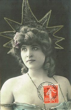 1900s Belle Epoque French Postcard Artist Dormy in Theatrical Headpiece