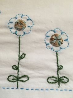 Blue Yoyo sunflowers pillowcase set Unique gift hand embroidered by AnniesUPAttic on Etsy Blue Pillow Cases, Embroidered Pillowcases, Flower Pillow, How To Make Pillows, Unique Gifts, Handmade Gifts, Sunflowers, Embroidery, Sweet Dreams