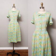 1950s Dress  Green Folk Print 50s Day Dress by OldFaithfulVintage, $58.00