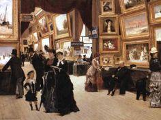 18 août 1737 : le Louvre accueille la première exposition régulière de tableaux et sculptures en France. Illustration : Un coin du Salon du Louvre en 1880, par Edouard Joseph Dantan
