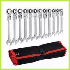 12pcs adjustable ratchet wrench set Flexible Head auto repair hand tools spanners a set of keys llaves herramientas D6104