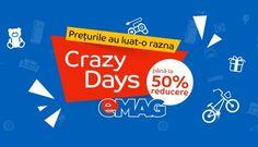 Pentru ca maine este Ziua Copilului, cei de la eMAG s-au gandit ca ar fi bine sa inceapa o noua campanie de reduceri Crazy Days, campanie care vine in continuarea campaniei eMAGIA copilariei.