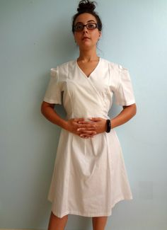 Vintage Faux Wrap Dress Nurse Uniform // by NatureCoastVintage, $35.00 #Halloweencostume #vintagenurse #nurseuniform