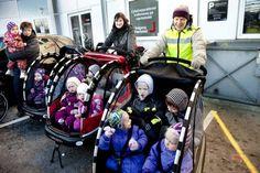 "Kindergarten transportation in ""Nihola"" bicyles, Copenhagen."