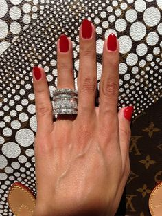 Classic red with my #MothersDay ring from my hubby! ❤ #rednails #diamonds