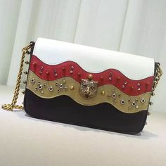 cc2bad5b2aa Gucci Studded Leather Chain Shoulder Bag Black and Red 432410 Gucci  Shoulder Bag