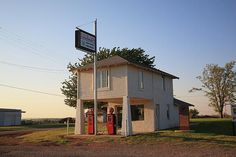 """Dusk on Route 66. Old fashioned filling station in Hydro, Oklahoma. """"The Fine Art Photography of Frank Romeo."""""""