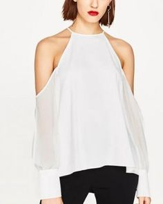 Cold shoulder halter top for ladies plain white long sleeve see through tee