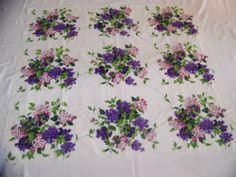 Vintage Wilendur Showy Hydrangea Linen Cotton Tablecloth Large Clusters | eBay