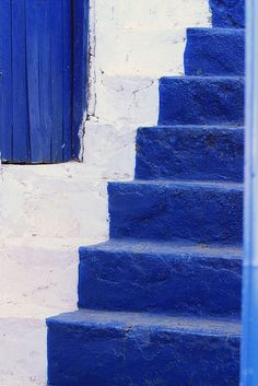 Blue steps in Hydra, Greece.