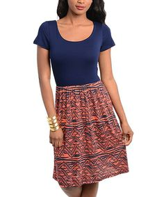 Take a look at this Blue & Coral Zigzag Scoop Neck Dress on zulily today!