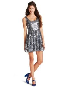 As U Wish Juniors Sequin Skater Dress - House Of Fashion