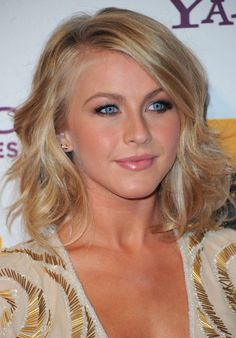medium bob haircut. long bangs. julianne hough.