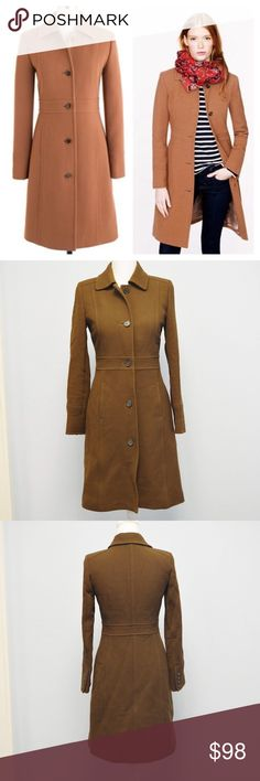 """J. Crew thinsulate lined trench long coat sz 0 The last layer should make a great first impression: this flattering, feminine coat is tailored for a fitted look.  Italian wool/nylon. Round collar. Functional buttons at cuffs. On-seam pockets. Fully Lined in Thinsulate. Dry clean. Size 0 Measurements laying flat Body length 37"""" Sleeves length 23 1/2"""" Pit to pit 18"""" Color: brown  94% wool, 6% nylon  In Excellent condition. Lining has a tear in the right pit and 2 stains. But the outside looks…"""