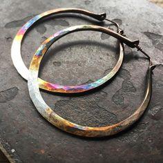 "76 Likes, 2 Comments - Jewelry by Danielle Quigley 🌙 (@daniellerosebean) on Instagram: ""Rainbow Sterling silver hoops 🔥🔥🔥 #handmade #hoopearrings #jewelry #style #rainbow #trendy…"""