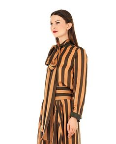 PETAR PETROV Striped silk shirt high neck with foulard long sleeves with leather cuffs front button closure 100% SE Inserts: 100% Leather