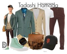 """Tadashi Hamada"" by leslieakay ❤ liked on Polyvore featuring Uniqlo, Daniele Alessandrini, Ted Baker, Tadashi, Nixon, Converse, New Era, men's fashion, menswear and disney"
