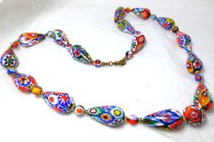 Vintage Millefiori Necklace Venetian Art Glass by JewlsinBloom, $95.95