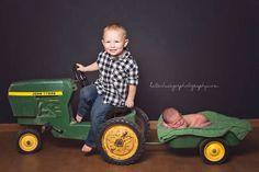 Newborn boy baby photo shoot session photography John Deere tractor brothers studio Lincoln, Nebraska  Kati Schwieger Photography www.katischwiegerphotography.com