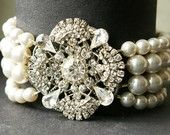 Art Deco Style Bridal Bracelet, Ivory White Pearl Wedding Bracelet, Vintage Style Bridal Jewelry, Crystal Pearl Cuff Bracelet, LOUISE