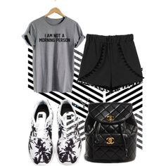 Not a Morning person by carolinamizan on Polyvore featuring polyvore, fashion, style, Chanel and NIKE