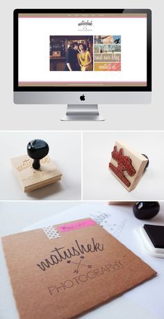 use of mixed fonts & personalized stamps! Visual Identity, Brand Identity, Corporate Identity, Photography Branding, Photography Business, Photo Packages, Pretty Packaging, Life Design, Brand Packaging
