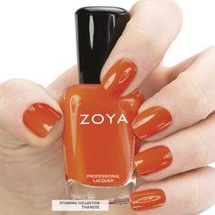 Here's your first look at Zoya #NailPolish in Thandie - a full-coverage, citrus orange cream. #summer #zoyastunning #orange