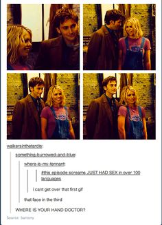 where's your hand, Doctor? - Doctor and Rose Tyler - Tooth and Claw - Doctor Who, 10 David Tennant, Sherlock, Rose And The Doctor, Doctor Who Rose, Supernatural, Nos4a2, 10th Doctor, My Sun And Stars, Don't Blink