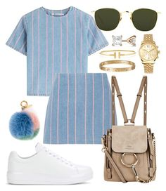 A fashion look from July 2017 featuring blue shirt, blue skirt and prada sneakers. Browse and shop related looks. Kpop Fashion Outfits, Cute Fashion, Look Fashion, Girl Outfits, Cute Casual Outfits, Stylish Outfits, Elegantes Business Outfit, Mode Ulzzang, Looks Party