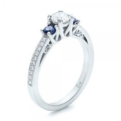 Custom Blue Sapphire and Diamond Engagement Ring #100876 Bellevue ...