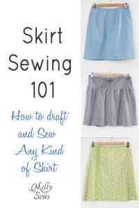 MELLY SEWS BLOG    How to Sew a Skirt - how to draft a pattern for yourself and sew any kind of skirt
