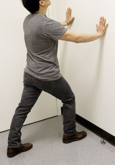 The American Academy of Orthopaedic Surgeons suggests this exercise to stretch the calf and relieve plantar fasciitis.