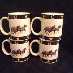 Set Of 4 White Brown Horses Star Horseshoe Coffee Cup Mug Drink