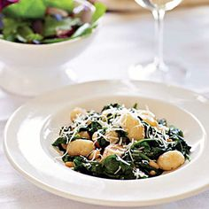 25 Best Vegetarian Recipes | Brown Butter Gnocchi with Spinach and Pine Nuts | CookingLight.com I will do this without the Gnocchi sounds so yummy