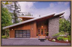 Facade house - 10 diseños de fachadas de casas modernas de un piso, exclusiva selección de estructuras Modern Garage, Modern House Plans, Modern Exterior, Modern House Design, Exterior Design, Wall Exterior, Facade Design, Shed Roof Design, Modern Roofing