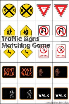 Play a game to learn about traffic signs! This printable Traffic Signs Matching Game is great for learning and reviewing the most important US traffic signs while having fun. Perfect for preschoolers, kindergartners, and even as an introduction for toddle